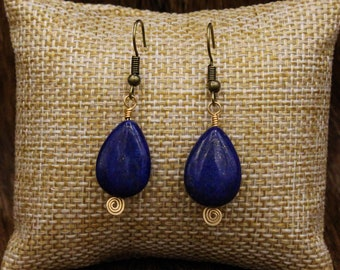 Lapis Lazuli and Brass earrings with stainless steel post (494)