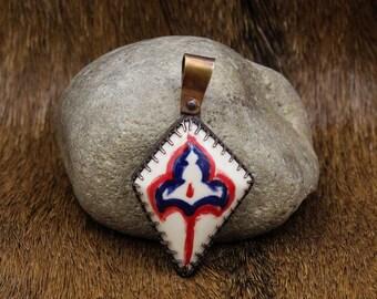 """Handmade Historical Pottery Replica """"stone"""" in Copper pendant (590)"""