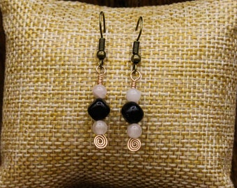 Lignite Jet, Rose Quartz, and Bronze earrings with stainless steel post