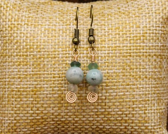 Ancient Roman glass, Emerald, and Bronze earrings with stainless steel post