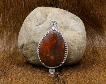 Moroccan Agate & Sterling Silver Celtic Spiral pendant (592)
