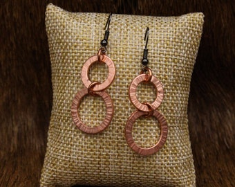 Hammered Copper earrings with stainless steel posts (549)