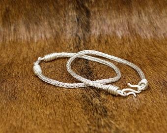 Fine Silver Viking Knit Bracelet