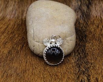 Smokey Quartz & Sterling Silver Celtic Spiral pendant (594)