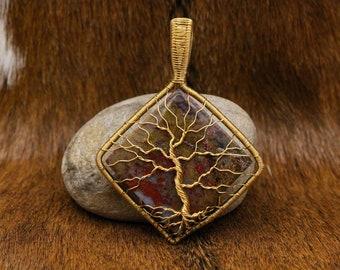 Brass & Red Moss Agate Yggdrasil pendant