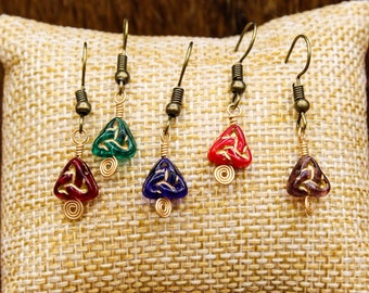 Czech Glass Triskelion and Brass earrings with stainless steel post (Multiple color options!) (507, 508, 509, 510, 511)