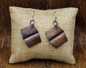 Foldformed Copper Book Earrings (589)