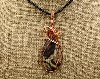 Copper and Rainbow Jasper pendant