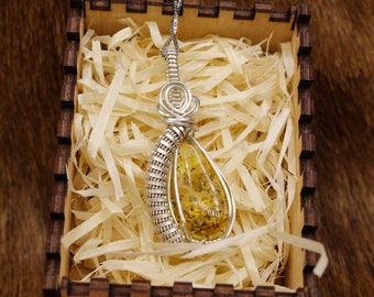 Freja - Jarlskona style Sterling Silver wrapped Baltic Amber pendant