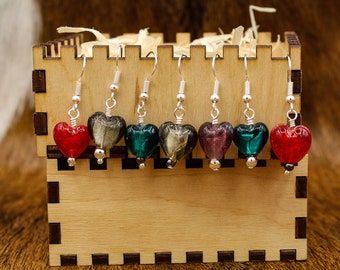 Lampwork Glass Heart Valentine's Day earrings with stainless steel posts (550)