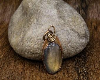 Labradorite in Copper & Brass pendant (598)