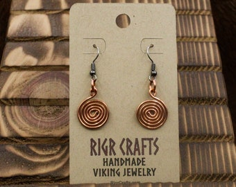 Copper Celtic Spiral earrings with stainless steel posts - Simple Celt Series (411)