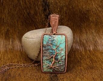 Copper & Indonesian Sedimentary Stone Yggdrasil pendant