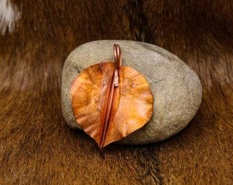 Foldformed Copper Leaf Pendant (538)