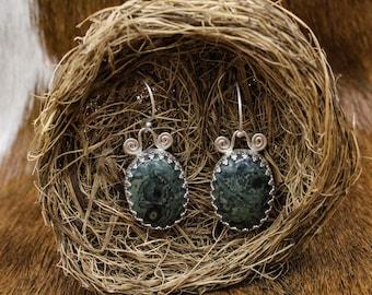 Kambaba Jasper & Sterling Silver Celtic Spiral Earrings(586)