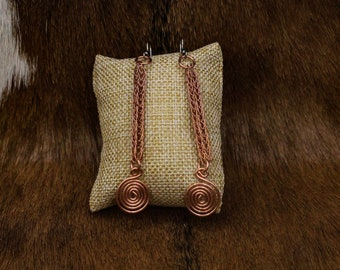 Copper Viking Knit and Celtic Spiral earrings with stainless steel posts