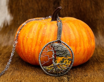 Sterling Silver & Bumblebee Jasper Moon Yggdrasil pendant - Haust Halloween Line