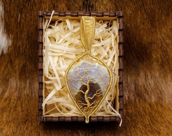 Brass & Agate Yggdrasil pendant