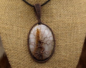 Copper & Agate Yggdrasil pendant (390)