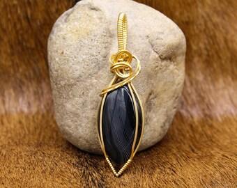 Brass & black Agate pendant