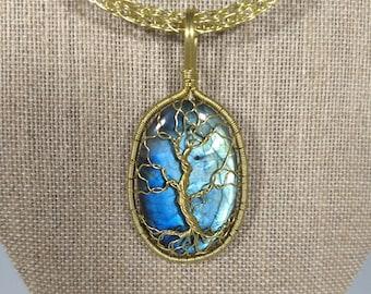 Brass and labradorite tree of life pendant