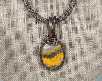 Bumblebee Jasper and copper pendant