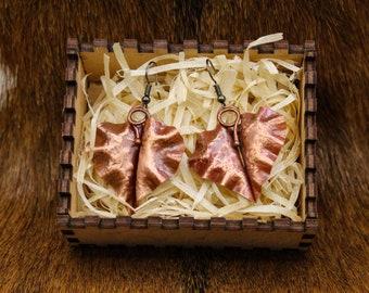 Foldformed Copper Leaf Earrings