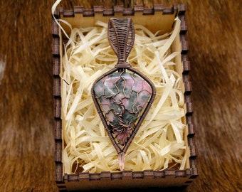 Copper & Rhodonite Yggdrasil pendant