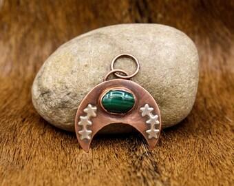 Copper & Malachite Lunula pendant (568)