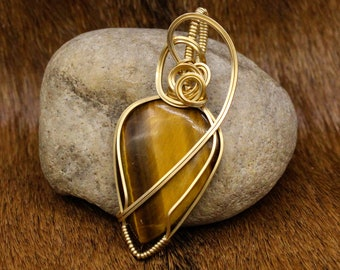 Brass & Tiger Eye pendant