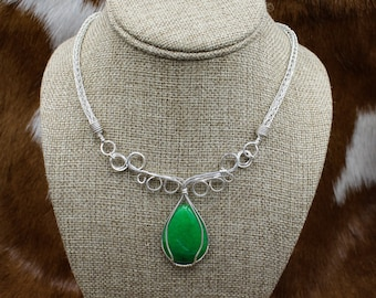 Green Princess - Sterling Silver and Green Jade Elven Swirl pendant on Viking Knit necklace and bracelet set