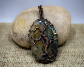 Copper and Labradorite Tree of Life Pendant