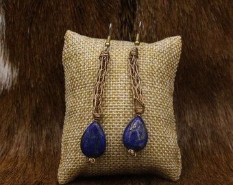 Bronze Viking Knit and Lapis Lazuli earrings with stainless steel posts (401)