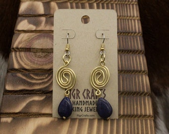 Brass Wave Spiral with Lapis Lazuli earrings with stainless steel posts