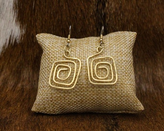 Brass Greek Key Spiral earrings with stainless steel posts