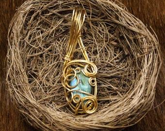 Brass & Labradorite pendant
