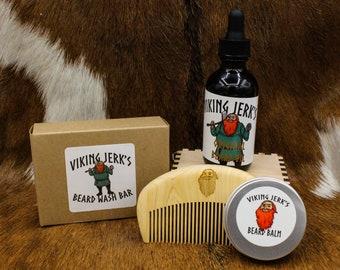 Viking Jerk's All Natural, Hempseed Oil Based Complete Beard Care Kits
