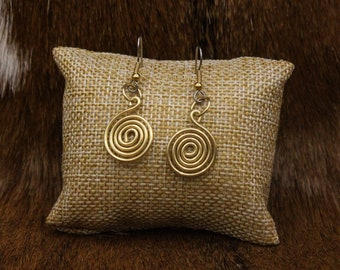 Brass Celtic Spiral earrings with stainless steel posts - Simple Celt Series