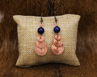 Copper and Lapis Lazuli Drop Spiral earrings with stainless steel posts - Simple Celt Series