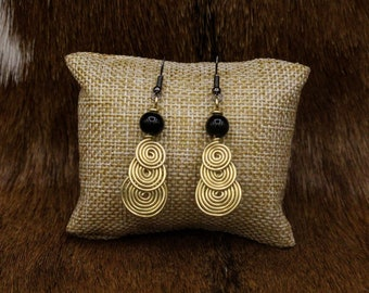 Brass and Onyx Drop Spiral earrings with stainless steel posts - Simple Celt Series