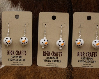 Lampwork glass Snowman earrings with stainless steel posts - 2020 Yule Collection