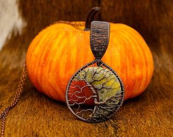 Copper & Bumblebee Jasper Moon Yggdrasil pendant
