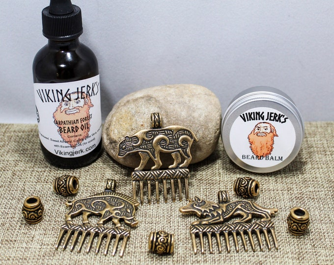 Featured listing image: Viking Jerk's Jarl's Beard Kit with Crafty Celts beads & combs