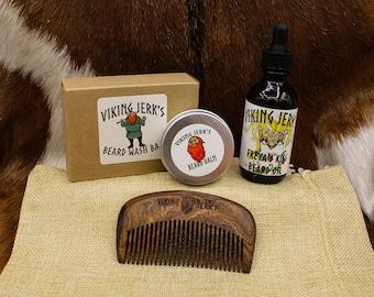Viking Jerk's Freya's Kiss Scented Beard Oil & Complete Beard Care Kits / Mead Scented