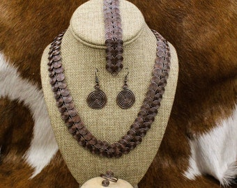 Morrigan - Celtic Spiral Link Jewelry Set in Oxidized Copper - Egyptian Coil (455)