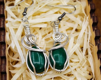 Sterling Silver wrapped Malaysian Jade earrings with stainless steel posts
