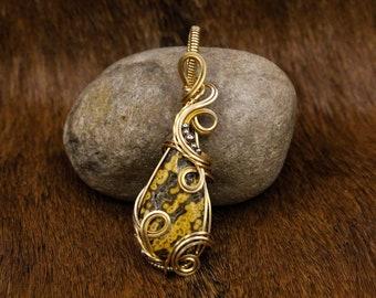 Brass & Ocean Jasper pendant