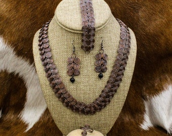 Morrigan - Celtic Spiral Link Jewelry Set in Oxidized Copper - Egyptian Coil
