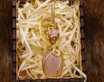 Brass & Rose Quartz pendant