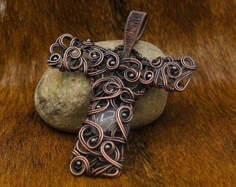 Copper Celtic Cross with Iron Beads and Quartz